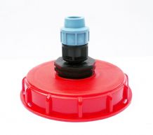 "IBC Storage Tank Topfill Cap (6"" Coarse Thread) with Straight MDPE Compression Inlet"